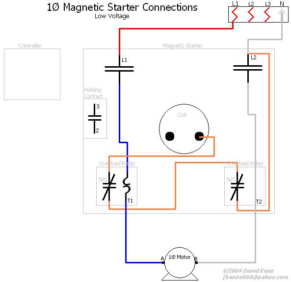 1ph_lowvolts_magstarter motor connections single phase motor starter wiring diagram at edmiracle.co
